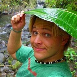 Jonathan in a Tahitian rainfall.