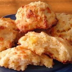 Cheese Garlic Biscuits II Recipe - Tender cheese biscuits with a garlic butter glaze.