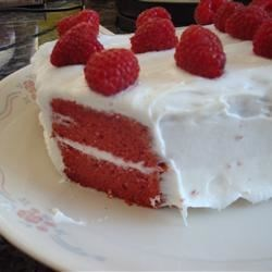 Red Velvet Cake III Recipe - Yellow cake mix, vanilla pudding, a little red food coloring, and cocoa powder are combined in this moist and delicious cake.