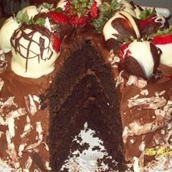 Chocolate Cake V Recipe - This easy chocolate cake contains coffee and makes 2 (9x13) inch pans.