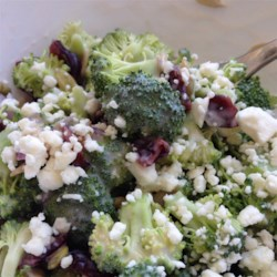 Best Baconless Broccoli Salad Recipe - Pumpkin and flax seeds, red onion, dried cranberries, and pecans are tossed with broccoli in a raspberry vinegar-flavored dressing in this recipe.