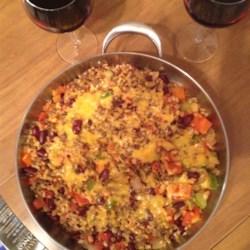 Cheddar-Topped Veggie Beef Skillet Dinner