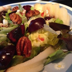 Orchard Harvest Salad Recipe - Make your own version of the Panera Bread(R)'s Orchard Harvest Salad with this DIY recipe featuring lettuce, pecans, cherries, pears, and Gorgonzola cheese.