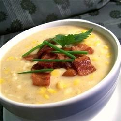 A-Maize-ing Corn Chowder Recipe - This recipe delivers a creamy corn chowder with potatoes and crumbled bacon for a comfortingly bowl of warm deliciousness.