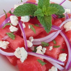 Watermelon and Blue Cheese Salad Recipe - Watermelon and blue cheese salad with mint is a refreshing new twist on traditional watermelon salad for your summer picnics.