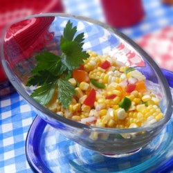 Summer Anytime Crisp Corn Salad Recipe - This bright and colorful salad is perfect for picnics on hot days because it's easy to make and has no mayo.