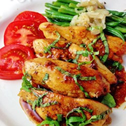 Lucky's Quickie Chickie Recipe - Fresh basil and honey give this quick and easy chicken recipe a hint of sweetness for a new weeknight meal.
