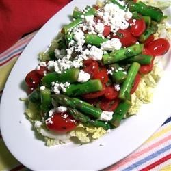Fresh Asparagus, Tomato, and Feta Salad Recipe - In this recipe, asparagus, tomatoes, green onion and cilantro are tossed with a light vinegar and oil dressing. This is a fresh summer salad inspired by Mediterranean and Asian flavors.