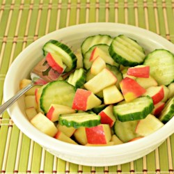 Cucumber and Apple Salad Recipe - This salad can be made just as quickly as you can diced some apple and slice some cucumber, by using prepared raspberry vinaigrette salad dressing.