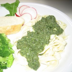 No Basil Pesto Recipe - This no-basil pesto is made with radish greens, arugula, and spinach instead of basil for a quick and easy pasta-topper.