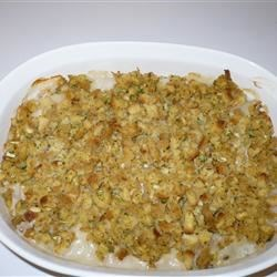 One Dish Chicken Bake Recipe - Prepared stuffing and chicken breasts enjoy the extra touch of an easy mushroom sauce.