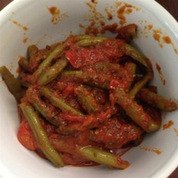 Grecian Green Beans in Tomato Sauce Recipe - The tomato taste and seasonings are worth the time and effort. Try the sauce with okra, too. Enjoy!