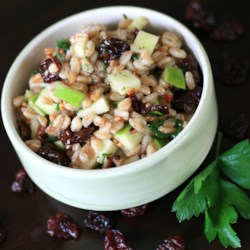 Cherry Farro Salad with Sweet Vinaigrette Recipe - Dried cherry and farro salad with toasted walnuts is tossed in a sweet vinaigrette, creating a refreshing and hearty salad.