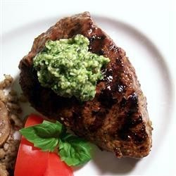 Lemon Basil Pesto Flat Iron Steak Recipe - Lemon and basil combine nicely into a pesto topping for steaks.