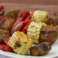 Southwest Steak and Corn Kabobs Recipe - Gluten-Free Taco Seasoning Mix adds the flavors of the Southwest to a marinade for steak cubes for kabobs. Use fresh corn at the peak of its season so it grills up sweet and tender.