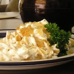 Turos Csusza (Pasta with Cottage Cheese) Recipe - This traditional Hungarian dish consists of bacon, egg noodles, sour cream, and cottage cheese.