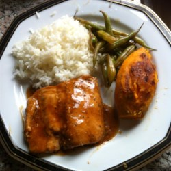Salmon Twist Recipe - Salmon is marinated in a simple soy sauce and brown sugar sauce creating a salty-sweet complement to the salmon. Serve with rice!