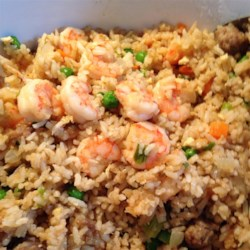 Shrimp Fried Rice I Recipe - This is an excellent tasting shrimp dish with Chinese flair. Serve as a side dish or main course, with soy sauce or teriyaki sauce.