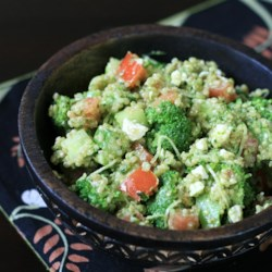 Parsley Walnut Pesto Quinoa Salad Recipe - Use this recipe to give a fresh taste to pesto sauce by making it with walnuts and parsley, then serve over a quinoa salad with leeks and blue cheese.