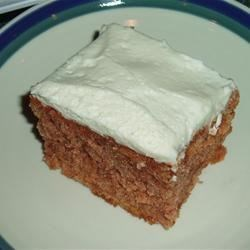 Zucchini Cake I Recipe - This is a very moist cake, similar to carrot cake, iced with cream cheese frosting.