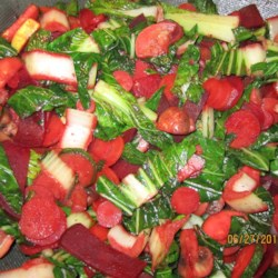 Bok Choy with Carrot Recipe - Bok choy sauteed with carrots and beets is seasoned with cardamom for a colorful side dish to any main dish.