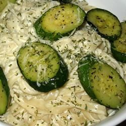 Blue Cheese Fettucine Recipe - This simple, delicious, and creamy vegetarian pasta dish features sauteed zucchini with garlic, white wine, cream, and blue cheese.