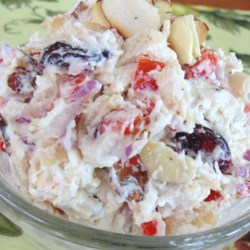 Craisin(R), Almond, and Feta Chicken Salad Recipe - This chicken salad gets a flavor boost through the addition of sweetened dried cranberries, toasted almonds, and feta cheese.