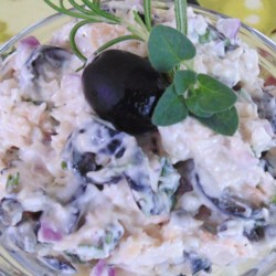 Savino's Herb and Olive Chicken Salad Recipe - Use cooked chicken breasts, sliced black olives, and fresh herbs to make this quick and easy mayonnaise-based chicken salad.