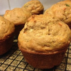 Carrot, Apple, and Zucchini Muffins Recipe - Hearty muffins made with zucchini, carrot, and apple make a nice breakfast, a snack, or an on-the-go light meal.