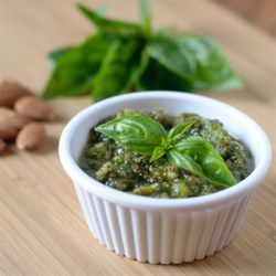 Easy Pesto Recipe - This is the easiest pesto recipe, using easy to find ingredients.  It can be prepared in 2 minutes after you toast the almonds.