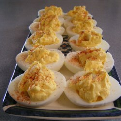 Deviled Eggs Recipe - Classic deviled eggs made with creamy salad dressing, mustard, and a sprinkling of paprika.