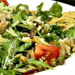 Chicken Florentine Salad with Orzo Pasta Recipe - Grilled chicken and orzo are tossed with spinach and a homemade balsamic vinaigrette creating a chicken Florentine as a salad.