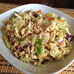 Top Ramen(R) Salad Recipe - Ramen noodles are combined with cabbage, almonds, and sunflower seeds in this recipe for ramen salad.