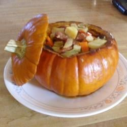 Cinderella Pumpkin Bowl with Vegetables and Sausage