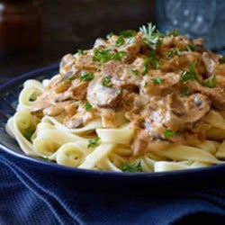 Veggie Stroganoff Recipe - The elements of classic Stroganoff - beefy flavour, mushrooms and creamy sauce, served on a bed of noodles -  appear in this veggie recipe.