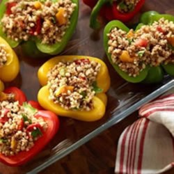 Stuffed Peppers with Ancient Grains and Roasted Peppers Recipe - An earthy, nutty mix of 7 ancient grains combines with Veggie Ground Round in a healthy, high-protein filling for stuffed bell peppers.