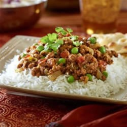 Vegetarian Keema Matar with Cucumber Raita Recipe - Warm, fragrant Indian-inspired vegetarian curry contrasts deliciously with cool cucumber raita. Serve over basmati rice.