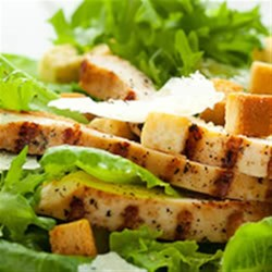 Veggie Chick'n Caesar Salad Recipe - It's a cinch to make a vegetarian Caesar salad for two - whisk up a simple garlic dressing, and top with quick-seared convenient Yves Chick'n Veggie Tenders.