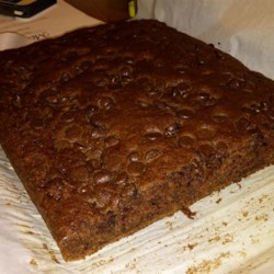 Zucchini Chocolate Chip Cake Recipe - A layer of chocolate chips is sprinkled on top of the cake batter before baking and melted in the oven for a double dose of chocolate.