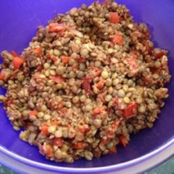Crunch's Lentil Salad Recipe - Lentil and bulgur salad with plenty of veggies is a quick and easy main dish for lunch or dinner.