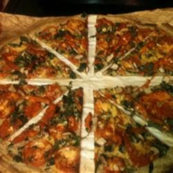 Matt's Marinated Chicken Spinach Pizza - Quick, Pourable Crust Recipe - This simple pizza crust recipe is topped with marinated chicken and spinach for a delightfully delicious meal.
