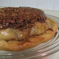 Upside-Down Apple Pecan Pie Recipe - Apple pie is baked on top of a caramel-pecan layer, then inverted after baking.