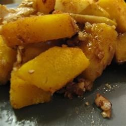 Acorn Squash with Apple Recipe - Peeling an acorn squash is the key to this delicious dish that's cooked in a microwave.  A fast and easy delight for busy families.