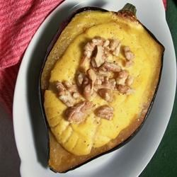 Creamy Acorn Squash Recipe - I love acorn squash with butter and sugar, but since that doesn't go over very well with a low-fat, low-sugar diet I came up with this alternative.  Feel free to adjust the seasonings to suit your individual tastes.