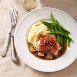 Prosciutto-Wrapped Chicken with Mushroom Marsala Sauce Recipe - This crispy prosciutto-wrapped chicken thigh recipe makes a tasty meal when served with steamed green beans and mashed potatoes to soak up the sauce.