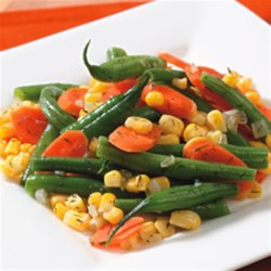 Quick Vegetable Saute Recipe - Add a little shallot and dried dill or tarragon to any mixture of frozen vegetables and have a delicious side dish on the table fast.