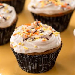 Halloween Gingerbread Cupcakes Recipe - These BOO-tiful cupcakes will be a hit at your kids' Halloween party.