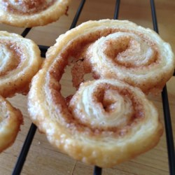 Cinnamon Palmiers Recipe - Frozen puff pastry makes it easy to whip up these crisp and cinnamony cookies.