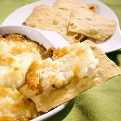 Baked Onion Dip I Recipe - A cheesy delight! This hot dip tastes great on crackers.