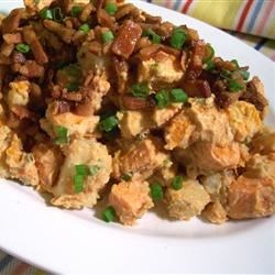 Warm Sweet Potato Salad Recipe - This warm sweet potato salad is a fresh and tasty addition to any summer meal. The bright and tangy flavors of green onions, mustard, and balsamic vinegar balance the richness of the sweet potatoes in this great side dish.